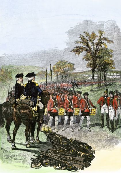 British army surrenders to American General Horatio Gates after the Battle of Saratoga New York 1777. Hand-colored woodcut of a 19th-century illustration
