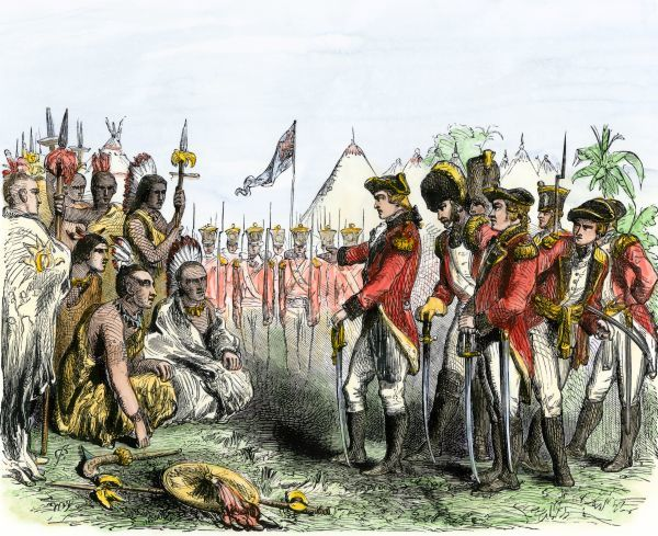 British General Burgoyne addressing Native Americans to secure an alliance during the Revolutionary War. Hand-colored woodcut of a 19th-century illustration