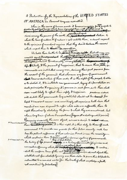 Draft of the Declaration of Independence in Jefferson's handwriting, page 1. Woodcut reproduction with a watercolor wash