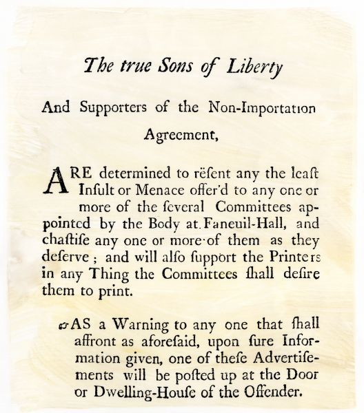 Sons of Liberty handbill supporting boycott of British goods in Boston before the Revolutionary War. Woodcut reproduction with watercolor wash