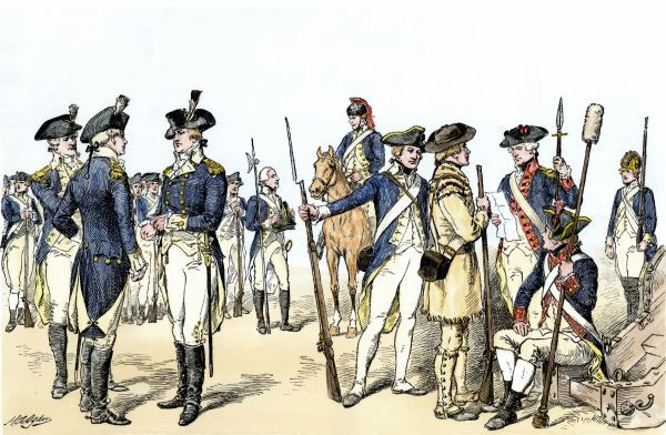 Continental Army uniforms, 1775-1783, during the Revolutionary War. Hand-colored woodcut of a 19th-century illustration