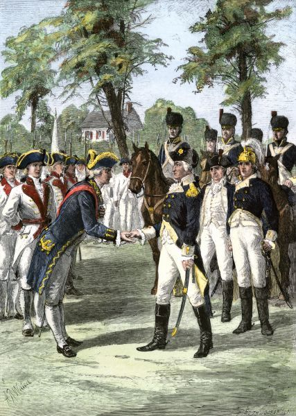 General Washington introduced to the Comte de Rochambeau, commander of French forces allied with U.S. Hand-colored woodcut of a 19th-century illustration