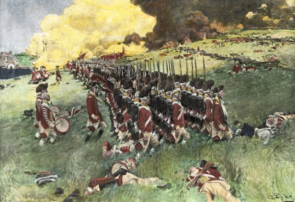 British army marching in formation up Breed's Hill in the Battle of Bunker Hill, American Revolution, 1775 Hand-colored woodcut of a 19th-century Howard Pyle illustration