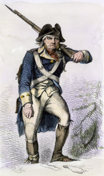 Continental soldier in shabby clothing in the snow at Valley Forge winter camp, American Revolution. Hand-colored woodcut of a 19th-century illustration