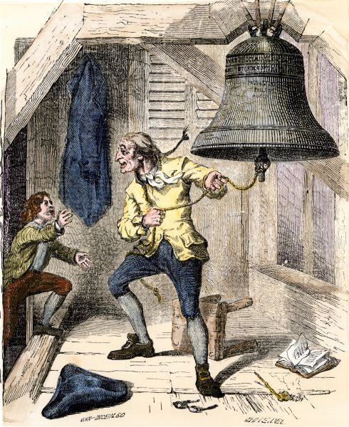 Bellman told to ring the Liberty Bell to announce the Declaration of Independence in Philadelphia, 1776. Hand-colored woodcut of a 19th-century illustration