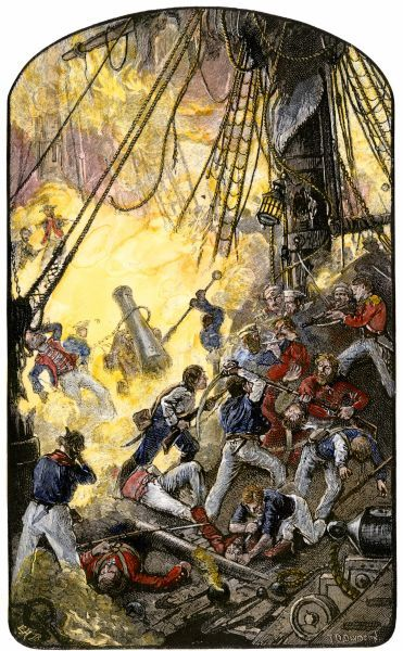 Sea fight between the American ship Bonhomme Richard and the British HMS Serapis, 1779. Hand-colored woodcut of a 19th-century illustration