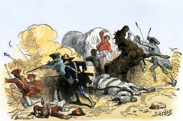 Colonial Regulators capturing a British supply wagon of gunpowder in North Carolina, 1770s. Hand-colored woodcut of a 19th-century illustration