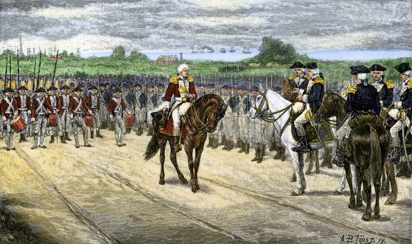 British surrender at Yorktown, 1781, effectively ending the American Revolution. Hand-colored woodcut of a 19th-century illustration by A.B. Frost