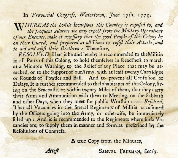 Notice to the militia to be ready to act at a minute's warning, dated Watertown, Massachusetts, June 17, 1775. Woodcut reproduction of the original document with a watercolor wash