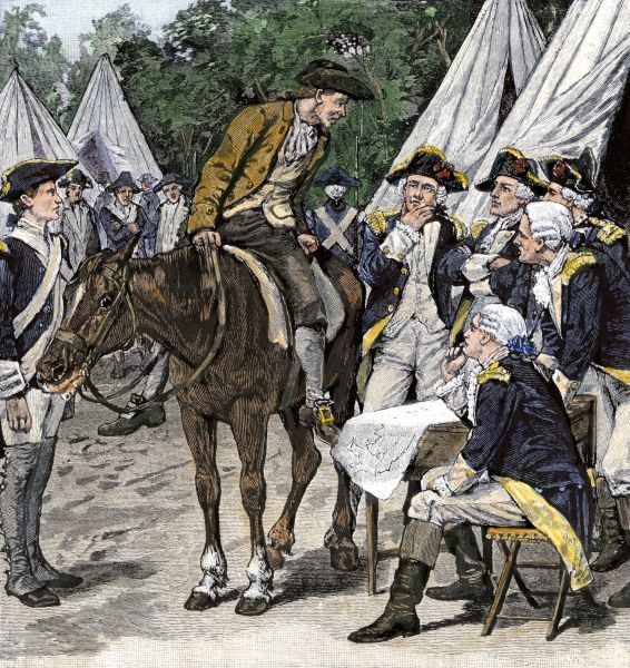 General Washington is brought the news that the British had crossed the Brandywine to occupy Philadelphia, 1777. Hand-colored woodcut of a 19th century illustration