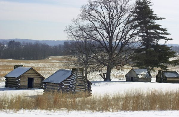 Continental soldiers' cabins reconstructed at the Valley Forge winter camp, Pennsylvania. Digital photograph