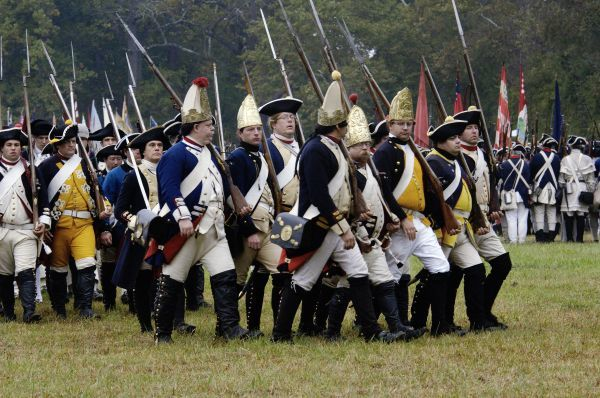 Hessian troops in the British army take the field in a reenactment of the surrender at Yorktown Battlefield, Virginia