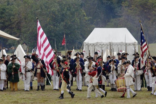 Continental army muster reenactment at Yorktown Battlefield, Virginia. Digital photograph of a National Park Service event at Yorktown Battlefield on the 225th anniversary of the surrender
