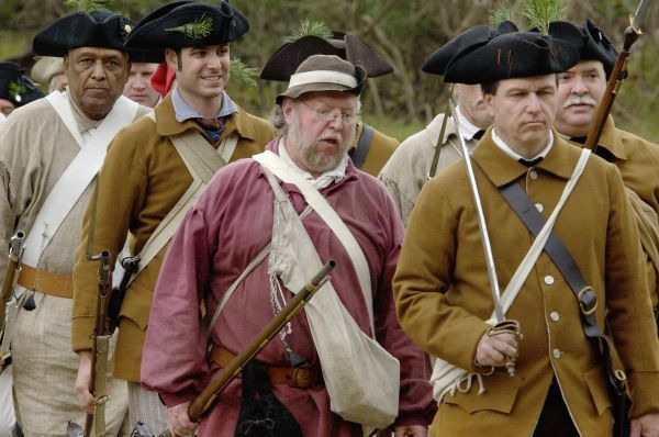 Lexington Minutemen reenactors march at Yorktown Battlefield, Virginia. Digital photograph of a National Park Service event at Yorktown Battlefield on the 225th anniversary of the surrender