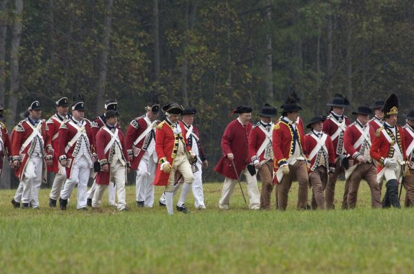 British army on the field in a reenactment of the surrender at Yorktown Battlefield, Virginia. Digital photograph of a National Park Service event on the actual field of surrender at Yorktown Battlefield on the 225th anniversary of the surrender