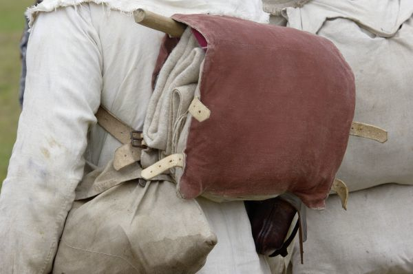 Knapsack of a French soldier reenactor at the Yorktown battlefield, Virginia. Digital photograph of a National Park Service event at Yorktown Battlefield on the 225th anniversary of the surrender