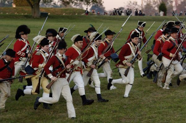 British sortie reenactment at Yorktown Battlefield, Virginia. Digital photograph of a National Park Service event at Yorktown Battlefield on the 225th anniversary of the surrender