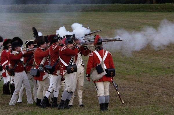 British sortie against a redoubt reenactment at Yorktown Battlefield, Virginia. Digital photograph of a National Park Service event at Yorktown Battlefield on the 225th anniversary of the surrender