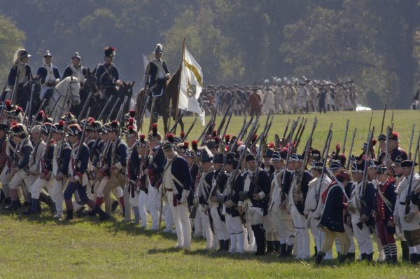 Continental Army reenactors march to the British surrender at Yorktown battlefield, Virginia. Digital photograph of a National Park Service event at Yorktown Battlefield on the 225th anniversary of the surrender