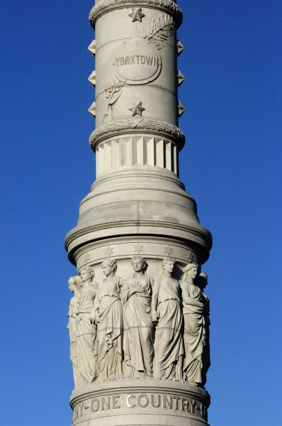 Detail of the Victory monument at Yorktown battlefield, Virginia. Digital photograph