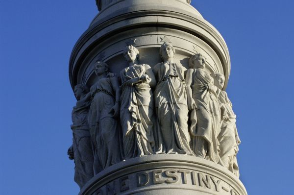 Detail of Victory monument at Yorktown battlefield, Virginia. Digital photograph