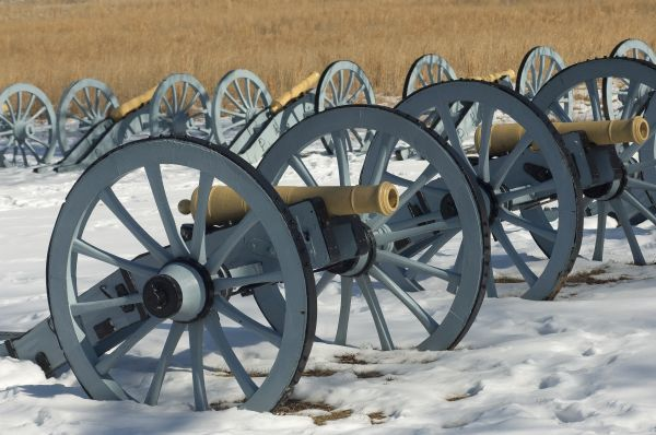 Artillery defending the Continental Army winter camp at Valley Forge, Pennsylvania. Digital photograph
