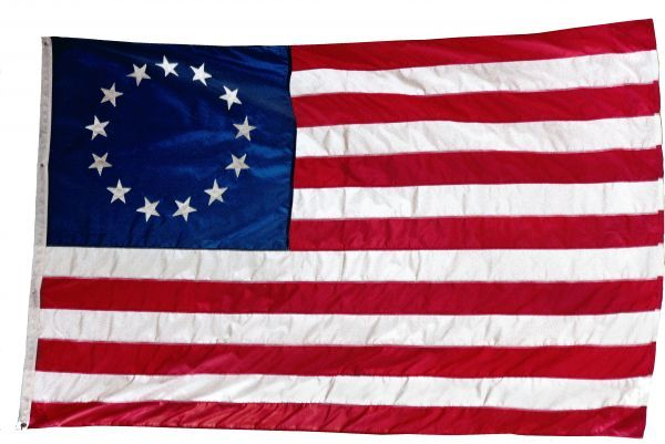 Thirteen-star flag of the new United States at hanging at the Monmouth, New Jersey, National Battlefield. Photograph