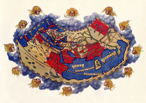 EXPL2A-00061. Ptolemy's world map, circa 150 AD, from the edition of 1472.