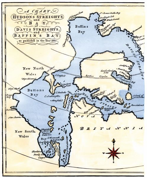 EXPL2A-00284. Early map of Hudson's Strait and Hudson's Bay, 1662, in Arctic Canada.
