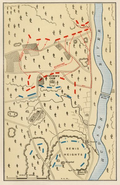 Map of the first battle at Freeman's Farm, part of the Saratoga battlefield, September 19, 1777. Printed color lithograph