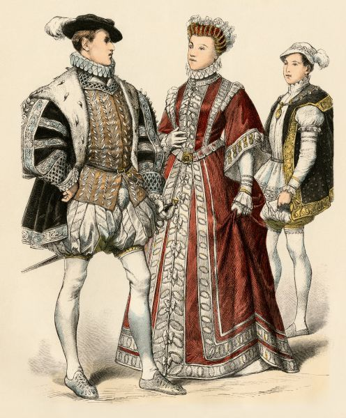 Francis II as King of France (left), as Dauphin (right); and his sister, Elizabeth de Valois, wife of Spanish King Phillip II (Felipe II). Antique hand-colored print