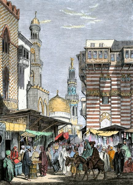 Busy street vendors in Cairo. Hand-colored woodcut of a 19th-century illustration