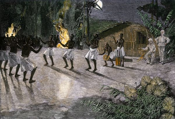 Native dance in the camp of an African explorer, 1800s. Hand-colored woodcut of a 19th-century illustration