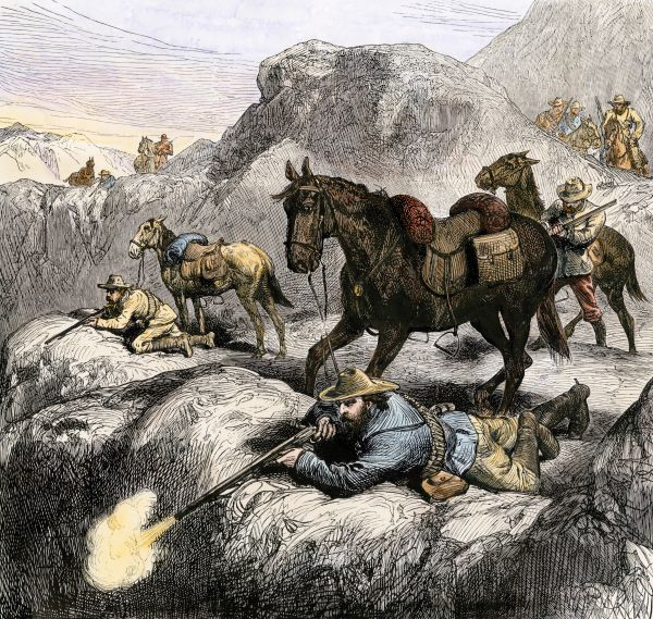 Boer marksmen in battle against the British in the Transvaal, 1881. Hand-colored woodcut of a 19th-century illustration