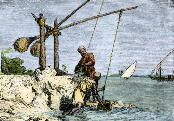 Egyptians drawing Nile water with a shadoof, a counterbalanced device used since ancient times. Hand-colored woodcut of a 19th-century illustration