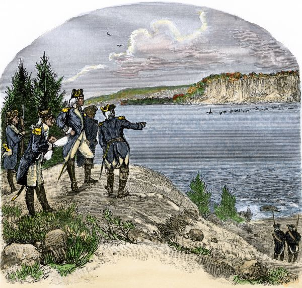 General George Washington overlooking the Hudson River at Washington Heights, American Revolution. Hand-colored woodcut of a 19th-century illustration