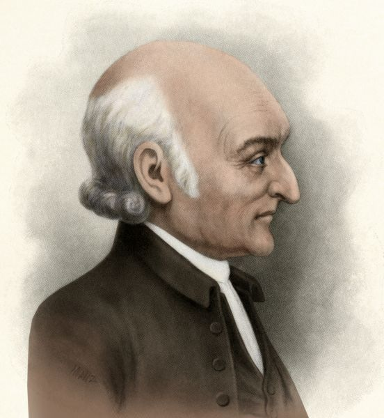 George Wythe, a signer of the Declaration of Independence from Virginia. Digitally colored printed halftone reproduction of an illustration
