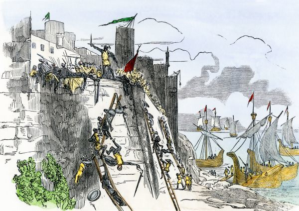 Portuguese capture of Ceuta, a Moorish stronghold in Morocco, 1415. Hand-colored woodcut of a 19th-century illustration