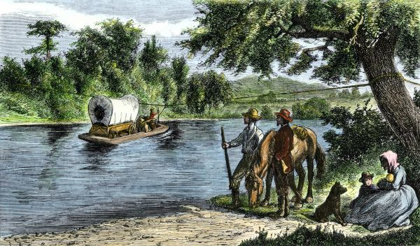 HSET2A-00059. Covered wagon crossing a river by rope ferry.