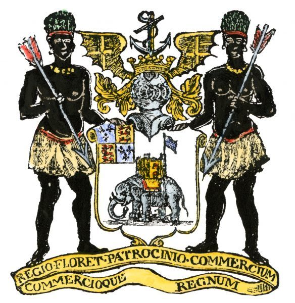 African Company arms, incorporated in London in 1588. Hand-colored woodcut reproduction of a 16th-century illustration
