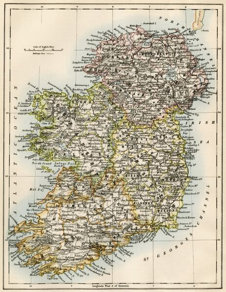 Ireland map, 1870s. Map of Ireland, or Eire, 1870s.Printed color lithograph