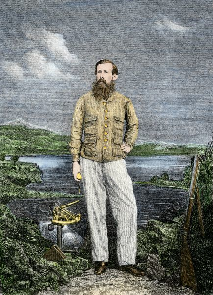 Africa explorer John Henning Speke, with Lake Victoria in background. Hand-colored woodcut of a 19th-century illustration
