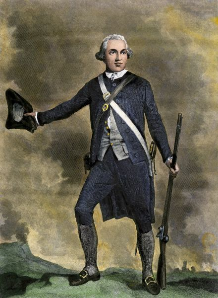 Joseph Warren, American patriot leader at the Battle of Bunker Hill. Hand-colored engraving reproduction of 19th-century illustration