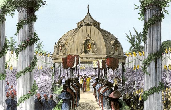 Coronation of the king of the Sandwich Islands, 1870s. Hand-colored woodcut of a 19th-century illustration