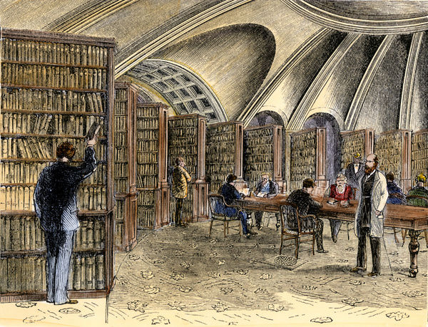 Law library within the old Library of Congress, 1870s. Hand-colored woodcut of a 19th-century illustration