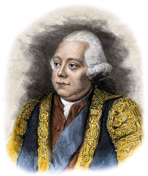 Frederick North, known as Lord North, prime minister to King George III. Hand-colored woodcut of a 19th-century illustration