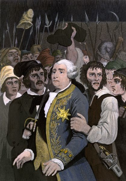 French King Louis XVI threatened by a revolutionary mob at the Tuileries, Paris, 1792. Hand-colored engraving of an illustration