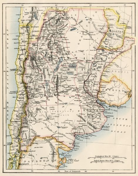 Map of Argentina in the 1800s