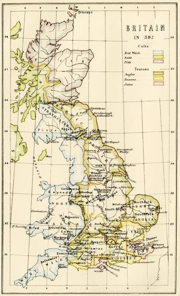 Map of territory controlled by Celts, Picts, Anglos, Saxons, and other tribes in Britain in 597 AD. Printed color lithograph of a 19th-century illustration