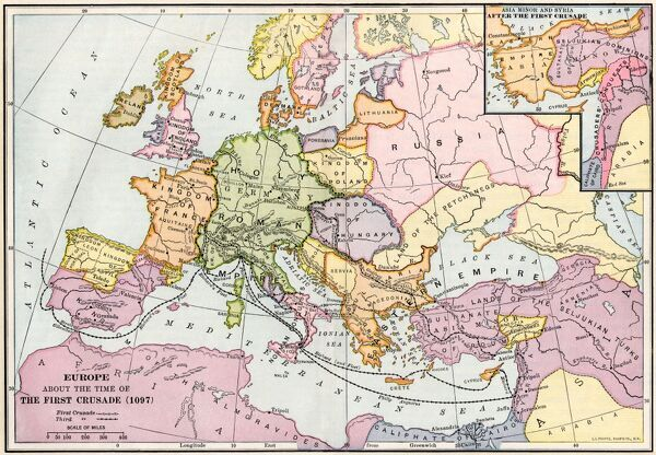 Map of Europe at the time of the First Crusade, 1097 AD. Printed color lithograph of a 19th-century illustration